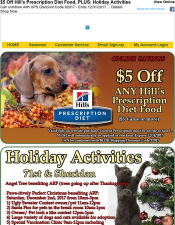 $5 Off Hill's Prescription Diet Food, PLUS: Holiday Activities