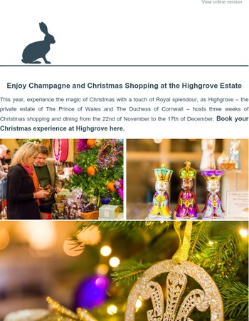 Champagne and Christmas Shopping at Highgrove.