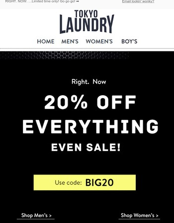 20% OFF Everything  (even Sale)!