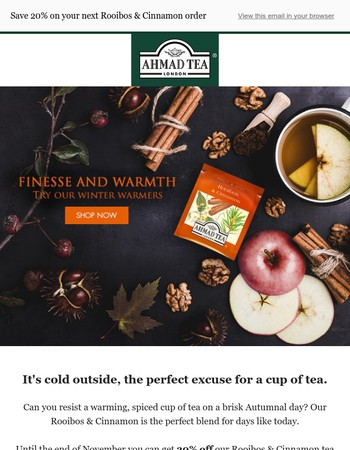 Warm up with a cup of Rooibos & Cinnamon Tea