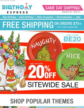 Save 20% Sitewide! Shop Thanksgiving and Christmas Supplies!