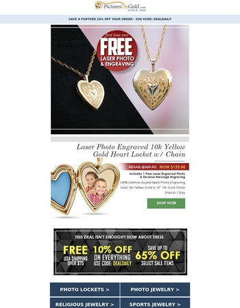 Daily Deal: 66% OFF This 10k Locket +Free Photo +Free Engraving +Free Chain!