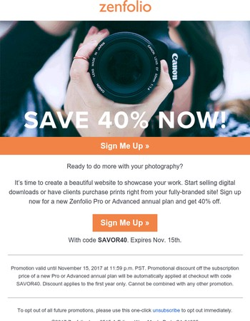Expires Today! 40% OFF a Stunning New Website