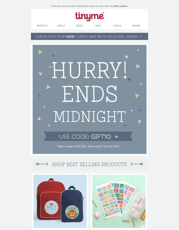 Hurry, last chance to SAVE 10% sitewide... Ends Midnight!