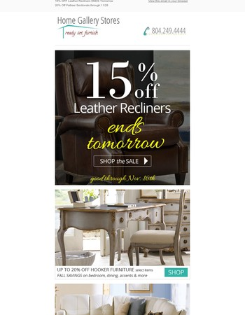 15% Off Leather Recliners ENDS Tomorrow!