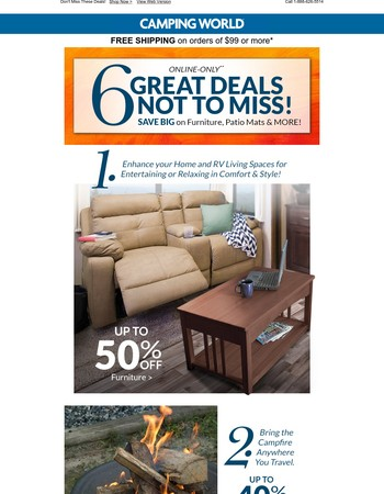 Save up to 50% on RV Furniture, Fire Pits, Patio Mats, & More