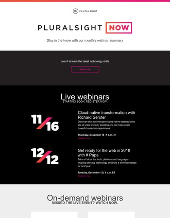 Pluralsight NOW: Join the experts at our webinars this month