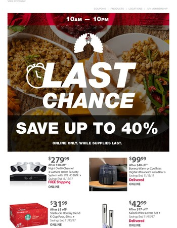 LAST CHANCE: Up to 40% off