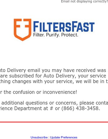 Please disregard our previous email regarding the auto delivery service.
