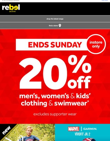 20% off clothing & swimwear!* Ends Sunday!