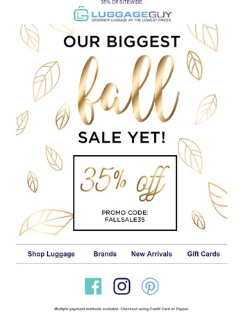 Our Biggest Fall Sale Yet!
