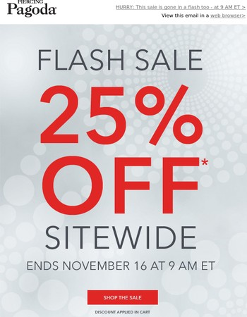 Flash Sale Savings! Take 25% Off Your Purchase!