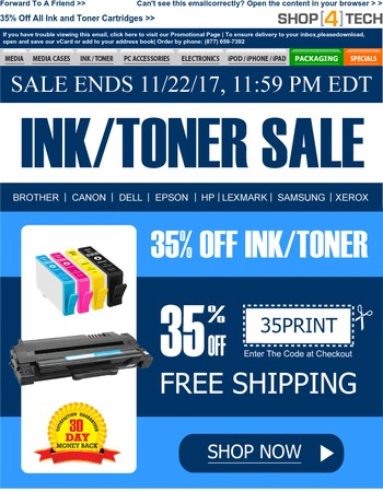 35% Off All Ink and Toner Cartridges