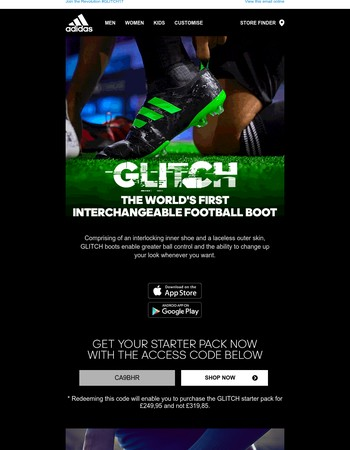 GLITCH - The world's first interchangeable football boot