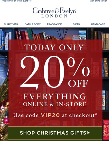 Your Exclusive 20% Off   TODAY ONLY