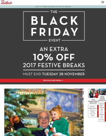 Black Friday: Extra 10% off festive breaks this year