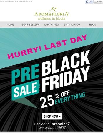 Aromafloria: 25% OFF Pre-Black Friday Sale - Last Day!