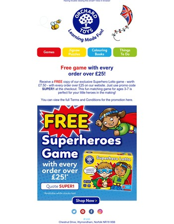 Free superhero game with every order over £25!