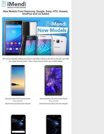 iMend Now Repair Samsung Note 8, Google Pixel & 20 Other New Models