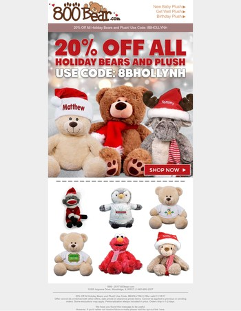 20% Off All Holiday Bears and Plush