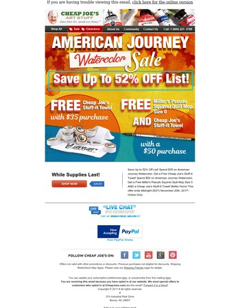 Save Up to 52% Off List! American Journey Watercolor Sale!
