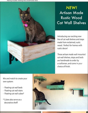 Shabby Chic! New Artisan Made Rustic Cat Wall Shelf System