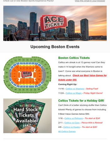 Celtics Go For 14 in a row. Plus New Sports Experience Packs for Holiday Gifts!