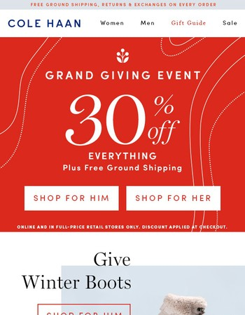 Starts Now! 30% Off Everything + Free Shipping