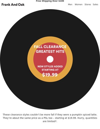 Fall Clearance: Starting at $19.99