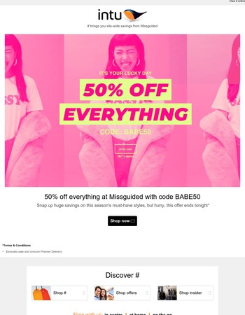 50% off everything at Missguided!