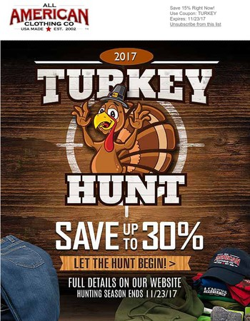 Save up to 30% for Thanksgiving