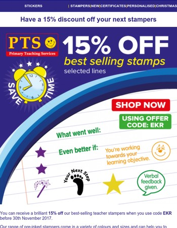 Have a 15% Stamper Discount On Us