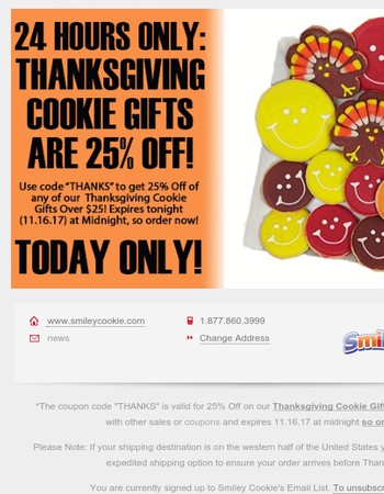 Thanksgiving Cookie Gifts Are Now 25% - Order Before It's Too Late!