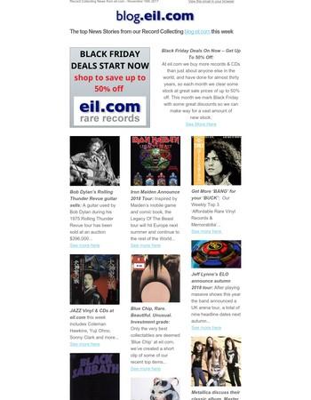 Record Collecting News - November 16th 2017 - Black Friday Deals, Iron Maiden, Bob Dylan, ELO, Bjork, Kylie, U2, Fleetwood Mac & More - blog.eil.com