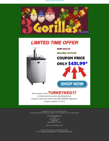 Lowest Price EVER on the New Versonel Kegerator only at 3Gorillas.com