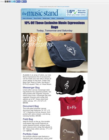 ♫ Save Big on our Exclusive Bags @ The Music Stand ♫