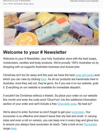 Soap It Up Newsletter - New Christmas Soaps and Gift Packs