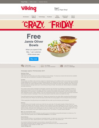 Crazy Friday: Free Jamie Oliver Bowls with your order