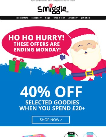 ho ho hurry! get christmas wrapped up with offers ending monday!