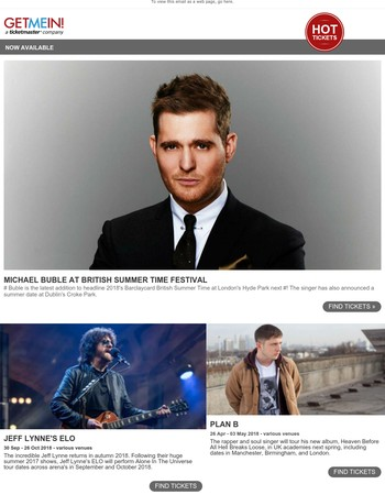 Michael Buble, Jeff Lynne's ELO, Plan B, UB40, Mayday, Wiley, Dan and Phil, Michael McIntyre, The Vamps, Tears For Fears, Morrissey, Sam Smith, Jingle Bell Ball, The Streets, Roger Waters + more!