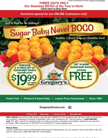 3 Days Only: Sugar Baby Navel BOGO is here!