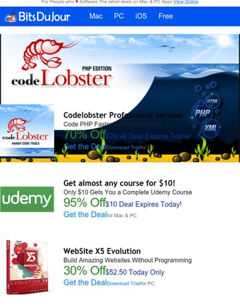 Codelobster Professional version, Get almost any course for $10!, WebSite X5 Evolution, NetShareWatcher, MacX MediaTrans V4.9 (Valued at $59.95) FREE for a Limited Time, ScreenBackTracker at BitsDuJour Today