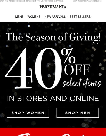 40% OFF In Stores & Online Today