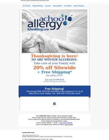 THANKSGIVING Savings to fight off Winter Allergies