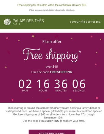 72h FREE SHIPPING as of $45!