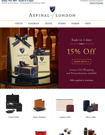 15% OFF - Ends in 3 days - Perfect Luxury Gifts for Christmas