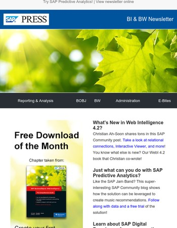SAP Predictive Analytics free trial, new WebI features, and SAP Digital Boardroom info!
