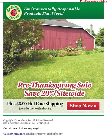 Save 20% during our Pre-Thanksgiving Sale
