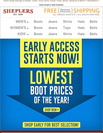 Early Access Starts NOW! Lowest Boot Prices of the Year + Extra 20% Off