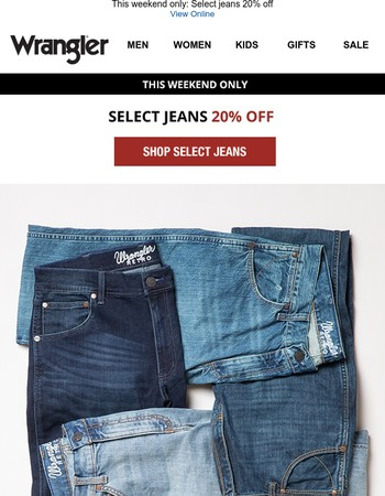 Black Friday prices on select jeans
